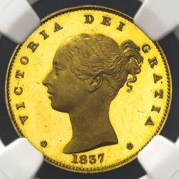 GREAT BRITAIN Victoria ヴィクトリア(1837~1901) Pattern Sovereign 1837 NGC-PF64 Ultra Cameo