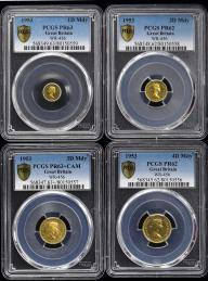 GREAT BRITAIN Elizabeth II エリザベス2世(1952~) Maundy Set in Gold 1953 Penny PCGS-PR63,2Pence PCGS-PR62,3Pence PCGS-PR63+CAM,4Pence PCGS-PR62