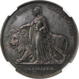 GREAT BRITAIN Victoria ヴィクトリア(1837~1901) Pattern 5Pounds in Silver (Pattern Crown?) 1839 NGC-PF64