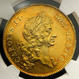 GREAT BRITAIN Charles II チャールズ2世(1660~85) 5Guinea 1673 NGC-MS62