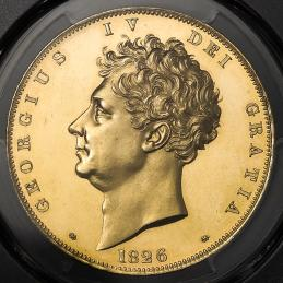 GREAT BRITAIN George IV ジョージ4世(1820~30) 5Pounds 1826 PCGS-PR63 CAM