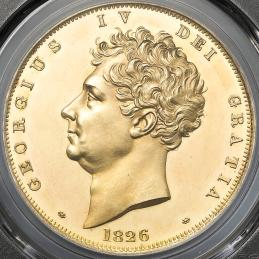 GREAT BRITAIN George IV ジョージ4世(1820~30) 5Pounds 1826 PCGS-PR62 DCAM