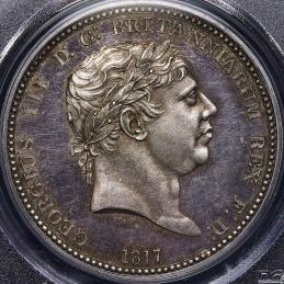 GREAT BRITAIN George III ジョージ3世(1760~1820) Pattern Crown 1817 PCGS-PR62