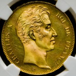 FRANCE Charles X シャルル10世(1824~30) Essai 100Francs ND(1824?30?)A NGC-PF64