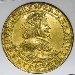 HOUSE OF HABSBURG  Ferdinand III フェルディナンド3世(1637~57) 10Ducats 1648 NGC-AU55