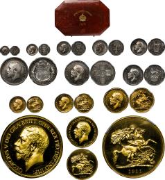 GREAT BRITAIN George V ジョージ5世(1910~36) Proof Set 1911 オリジナルケース入り with original case 額面の低い順に NGC-PF64,63,62,62,66,64,63,64,65 Cameo,64,65 Cameo,65 Cameo Proof UNC~FDC
