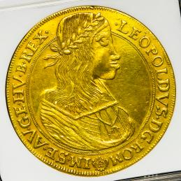 "HOUSE OF HABSBURG Leopold I レオポルト1世(1657~1705) 10Ducats 1659  NGC-XF Details""Obv Repaired,Engraved"""