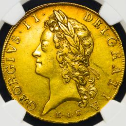 "GREAT BRITAIN George II ジョージ2世(1727~60) 5Guineas 1729""EIC"" NGC-AU55"