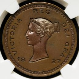 GREAT BRITAIN Victoria ヴィクトリア(1837~1901) Pattern Crown in Copper 1837 NGC-MS65BN Proof UNC~FDC