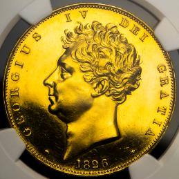 "GREAT BRITAIN George IV ジョージ4世(1820~30) 5Pounds 1826 NGC-PROOF Details""Repaired"""
