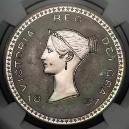 GREAT BRITAIN Victoria ヴィクトリア(1837~1901) Pattern Crown in Silver 1837 NGC-MS65