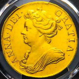 "GREAT BRITAIN Anne アン(1702~14) 5Guineas 1709 PCGS-AU Details""Cleaned"""