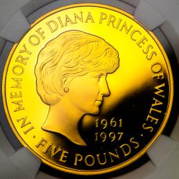 GREAT BRITAIN Elizabeth II エリザベス2世(1952~) 5Pounds in Gold 1999 保証書,オリジナルケース付き with an original case NGC-PF70 Ultra Cameo Proof