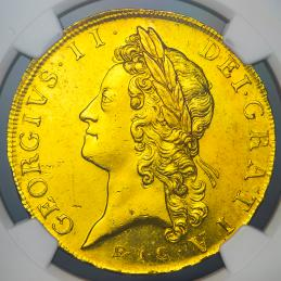 "GREAT BRITAIN George II ジョージ2世(1727~60) 5Guineas 1729""EIC"" NGC-MS63★"